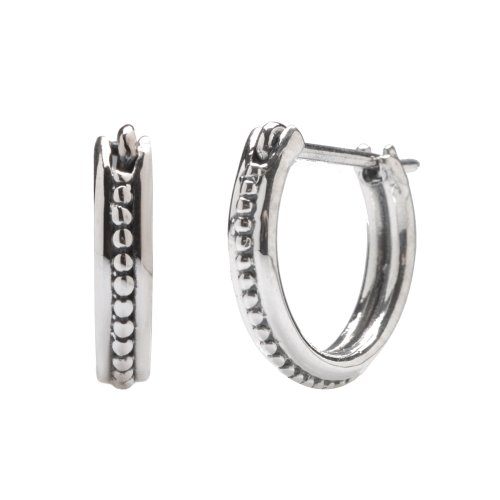 Sterling Silver Flawlessly Finished Huggie Earrings for Men and Women, Fancy Studded Circle-shape, 0.4