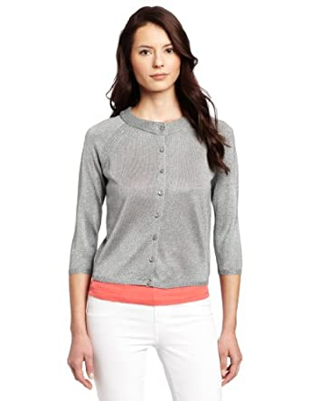 Description: Rafaella offers effortless style with a flawless fit for the woman on go. This cardigan features three quarter sleeves, and open front accented with trim, and bead embellishments along the front.