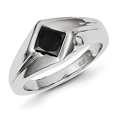 Sterling Silver Black Rough Diamond Mens Ring - Ring Size Options Range: T to V