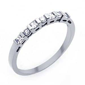 Little Treasures 14 ct Engagement Ring 0.4ctw CZ Cubic Zirconia Women's Wedding Band White Gold Ring