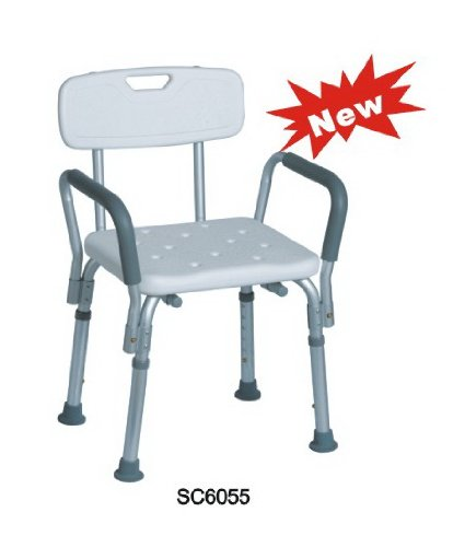 tms adjustable medical shower chair bathtub bench bath seat stool armrest back white