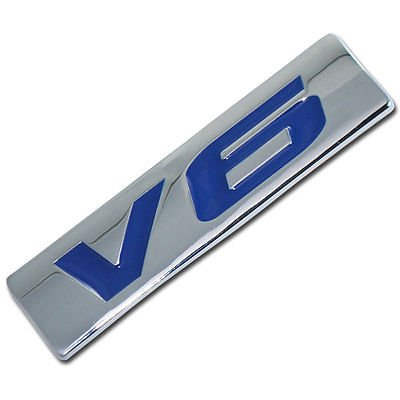 Chrome/Blue Metal V6 Engine Race Motor Swap Emblem Badge For Trunk Hood Door for Ford Fusion (2009 Ford Fusion Emblem compare prices)