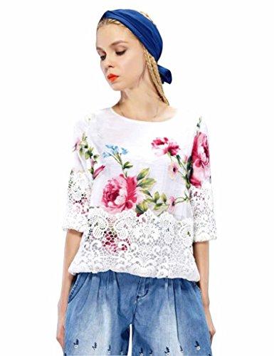 Elf Sack Womens Autumn Blouse Round Neck Half Sleeve Printing Organza Lace Large Size
