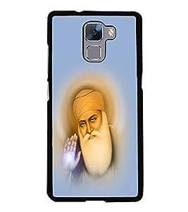 Guru Nanak 2D Hard Polycarbonate Designer Back Case Cover for Huawei Honor 7 :: Huawei Honor 7 Enhanced Edition :: Huawei Honor 7 Dual SIM
