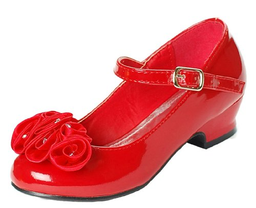 Mary Jane Shoes with Pretty Satin Rolled Rosettes Patent Leather