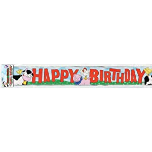 Unique 12' Foil Farm Party Banner, Multicolor by Unique