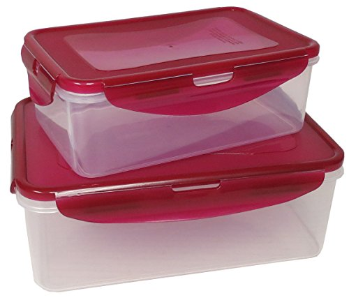 VMI Housewares 4-Piece Rectangular Easy Lock Set, Red