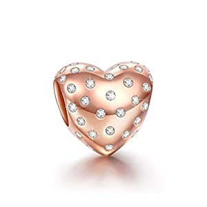 Ninaqueen 925 Sterling Silver Hope Heart Rose Gold Plated Cubic Zriconia Charms Fit Pandora Bracelet