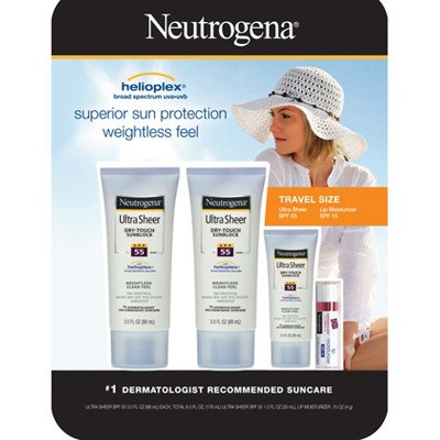 Neutrogena Ultra Sheer Dry-touch Sunblock, 3 Oz., 2-pk with Travel-size Sunblock and Lip Moisturizer