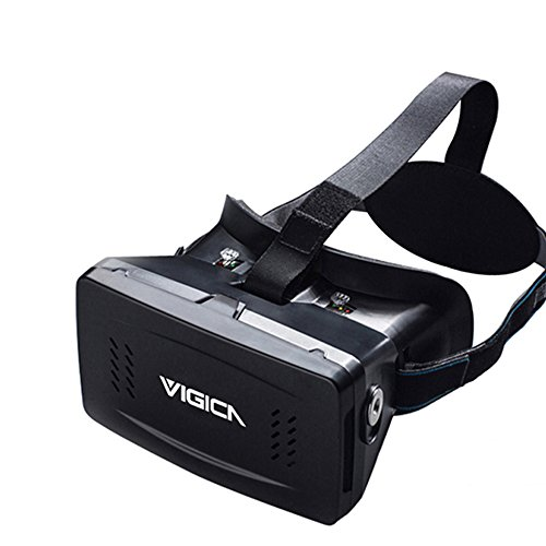 Vigica Virtual Reality VR Headset 3D Video Glasses Google Cardboard Plastic Version with Magnet Controller for 3d Movies Games 3.5-6 Inch Iphone Samsung HTC Cellphones