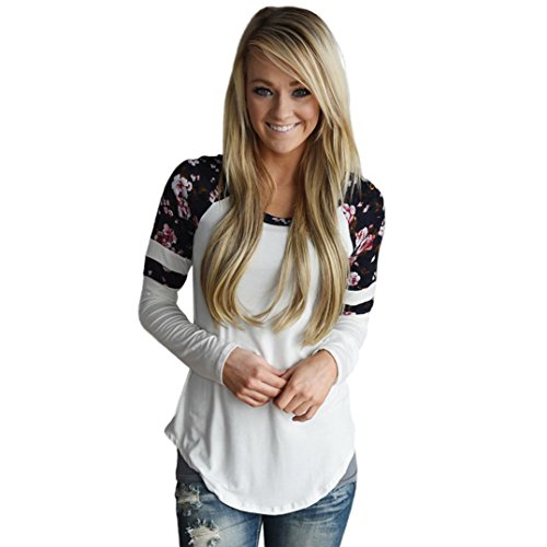 Women Floral Splice Shirt, Misaky Long Sleeve Round Neck Pullover Blouse (M, White)