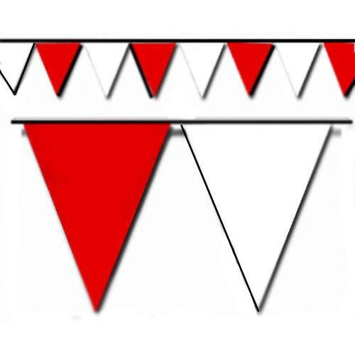 Red and White Triangle Pennant Flag 100 Ft. (Heavy Duty Flag Streamers compare prices)