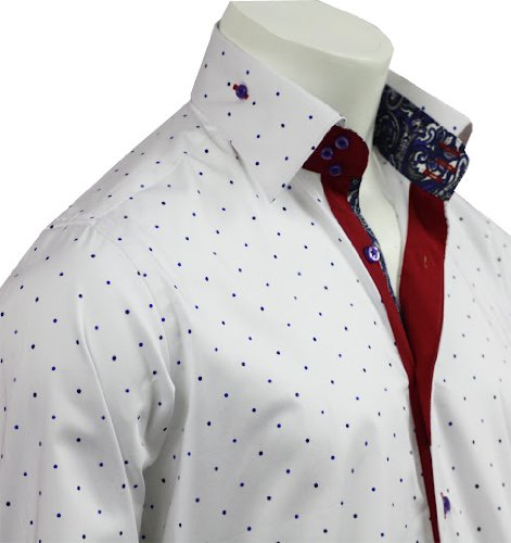 Men's Formal & Casual Italian Design Shirts Navy Dots Pattern Slim Fit S-4XL