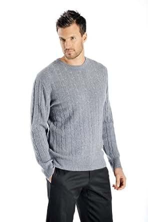 Men's Cable Cashmere Sweater (Black, Medium)