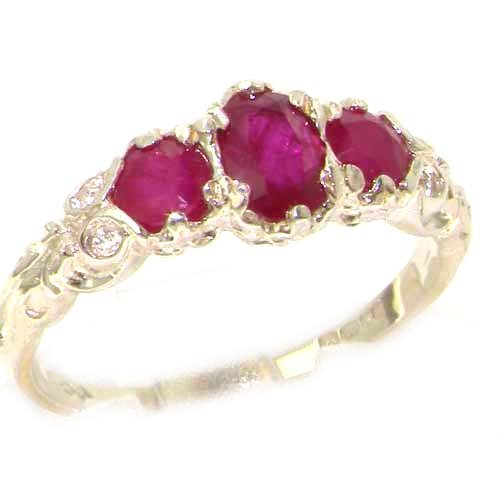 Ladies Solid Sterling Silver Natural Ruby English Victorian Trilogy Ring - Size 12 - Finger Sizes 5 to 12 Available - Suitable as an Anniversary ring, Engagement ring, Eternity ring, or Promise ring