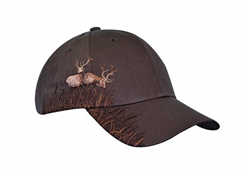 KC Caps® Men's Adjustable Hunting Cap Hat ELK Embroidery, Brown