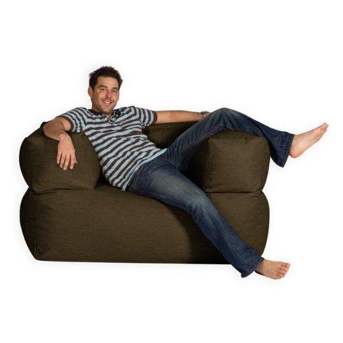 BaZi ® Armchair Sofa Bean Bag in CHOCOLATE Barkweave Fabric