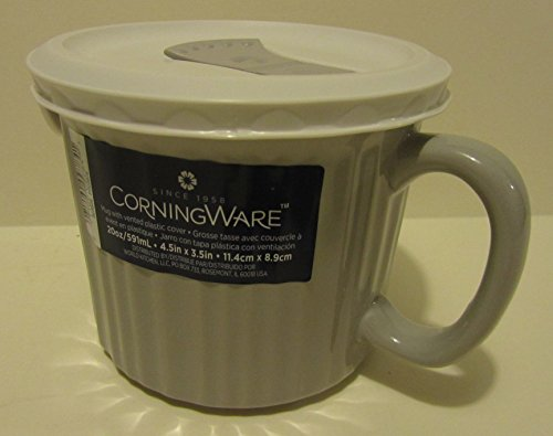 CorningWare French White 20 oz Mug with Vented Plastic Cover Truffle (Corningware Mug With Vented Cover compare prices)