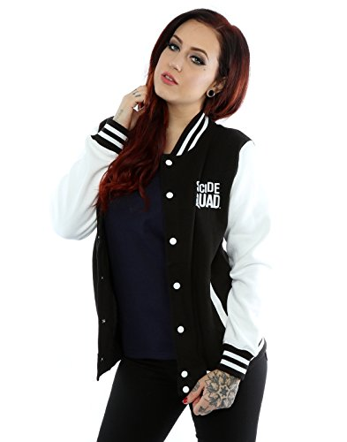 Suicide Squad Donna Joker Tattoo Giacca Varsity Small Nero bianco