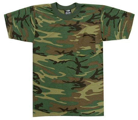 Woodland Camouflage Short Sleeve T-Shirt with Pocket
