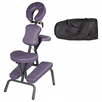 Portable Tattoo/Spa Massage Chair Travel With Free Carry Case Leather Pad Purple