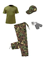 Kids pack 3 / Camo trousers, Olive t-shirt, baseball cap and Dog tags