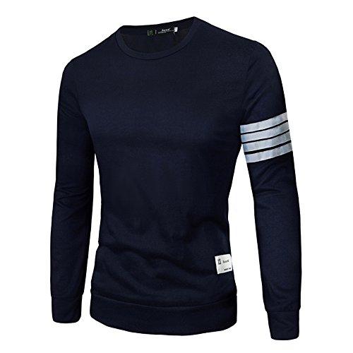 Uomo Di Marea a Maniche Lunghe T Shirt In Cotone Comodo Girocollo Che Basa La Camicia (Blu Navy)
