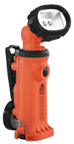 Streamlight 90657 Knucklehead Articulating Head Rechargeable Led Work Light With Clip 120-Volt Ac/12-Volt Dc Charger Steady Charge, Orange