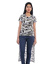 Avakasa Cotton Gray Printed Partywear Half Sleeves Top (top-13-grey)