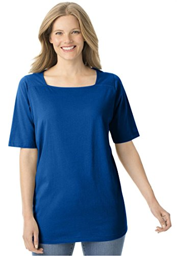 Women's Plus Size Perfect Square Neck Tee Shirt Dark Sapphire,2X