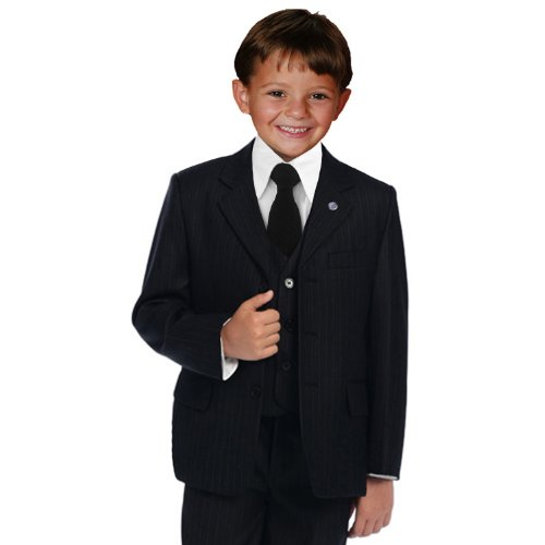 Save Price JL5014 Pinstripe Black Suit W/black Tie for Boys From Baby to Teen (2T)  Best Offer