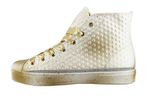 BEVERLY HILLS POLO CLUB sneakers donna 41 EU bianco tessuto beige AH996