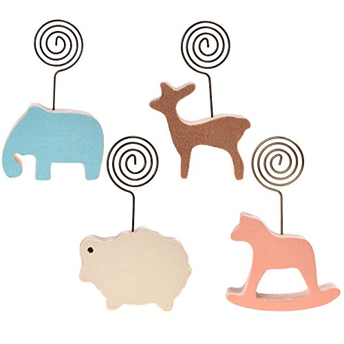 BCP Set of 4PCS Wood Base Cute Animal Memo Clips Place Card Holder Tabletop Photo Holders (Type 1) (Animal Picture Holders compare prices)