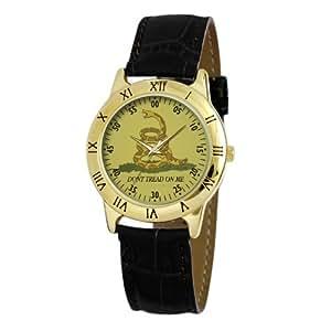 "Ewatchfactory Men's 56256D ""Don't Tread On Me"" Goldtone Black Strap Watch"