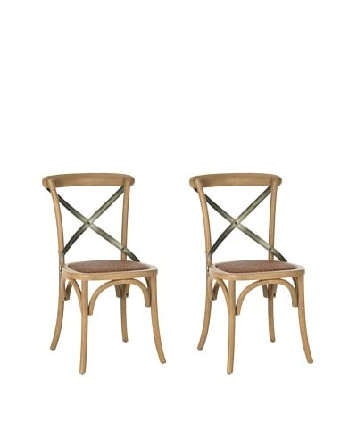 Safavieh Set of 2 Eleanor X Back Side Chairs, Weathered Oak