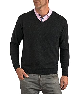 Wool Overs Pull col V homme en laine d'agneau Anthracite XS