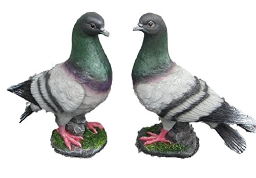 Home Decor Office Ornament Resin Crafts Simulation Fake Artificial Bird Pigeon Figure Figurine Statue Model Outdoor Garden Animal Decoration 2PCs/set (grey) (Pigeon Induction compare prices)