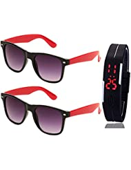 BLACK RED WAYFARER SUNGLASSES AND BLACK RED WAYFARER SUNGLASSES WITH TPU BAND RED LED DIGITAL BLACK DIAL UNISEX...