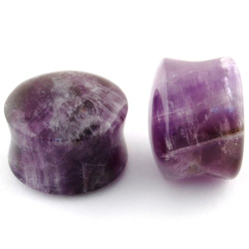 Pair of Amethyst Stone Double Flared Domed Plugs: 5/8