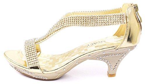Delicacy Women Lety73 Rhinestone T-Strap Evening Dancing Dress Low Heel Sandals,Gold,7.5