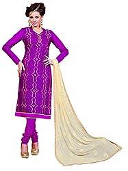 Jiya Presents Chanderi Silk Chudidar Dress Material(Wine)