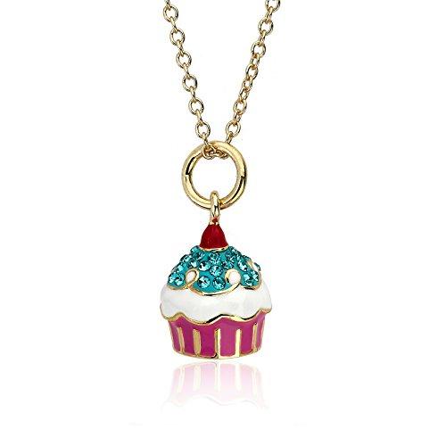 "Molly Glitz ""Sparkle Sweet"" 14k Gold-Plated Aqua Crystal Cherry Top Cu…"