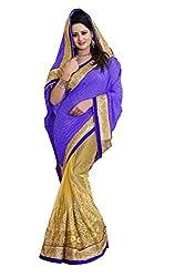 Radhe Krishna Creation Women's Net Saree(RKC04,Purple)
