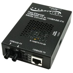 Transition - Media converter - 100Base-FX, 100Base-TX - RJ-45 - SC multi-mode - external - up to 1.2 miles - 1300 nm FETH 100BTX TO 100BFX SC MMF SA CONVRT 2KM Manufacturer Part Number E-100BTX-FX-05(SC)NA