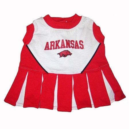 Mirage Pet Products Puppy Dog Cat Costume Arkansas Razorbacks Sports Team Logo Cheer Leading Uniform XS