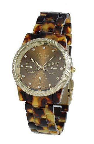 Geneva Chronograph Look Watch with Crystals Faux Tortoise Closed Band with Gold Trim Picture