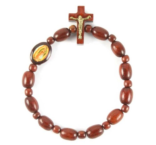All Cherry Wood One Decade Rosary Bracelet with Image of Guadalupe. Made in Brazil.