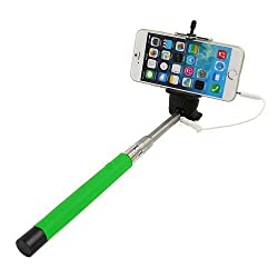 Casotec Wired Remote Shutter Extendable HandheldSelfieStick Monopod for IOS Android - Green