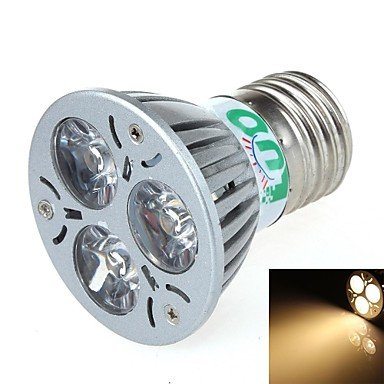 Luo V24 E27 3W 300Lm 3500K 3-Led Warm Light Spotlight - Silver (85~265V)