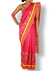 Rani Pink Chanderi Saree With Floral Embroidery And Orange Silk Border
